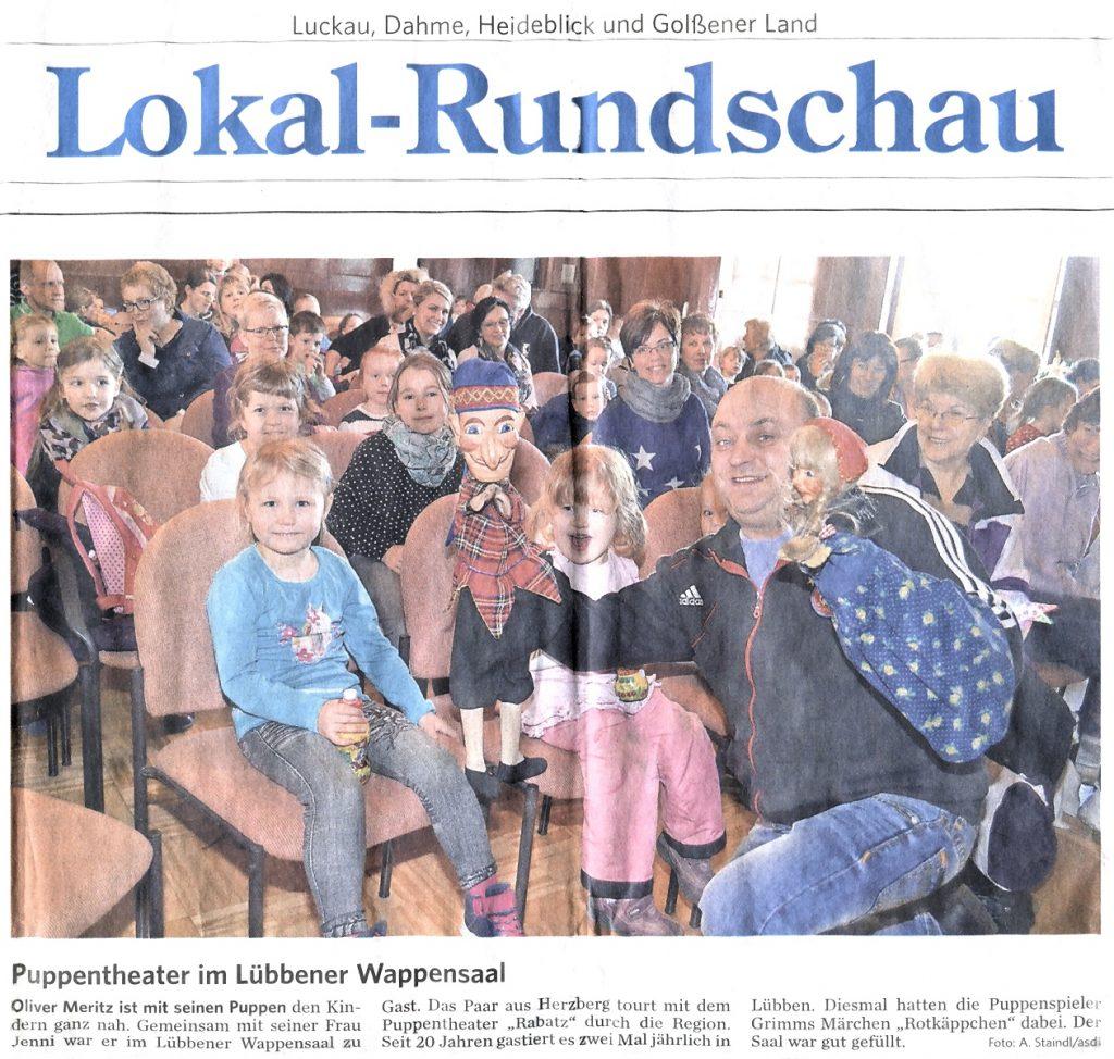 Rabatz Puppentheater im Lübbener Wappensaal